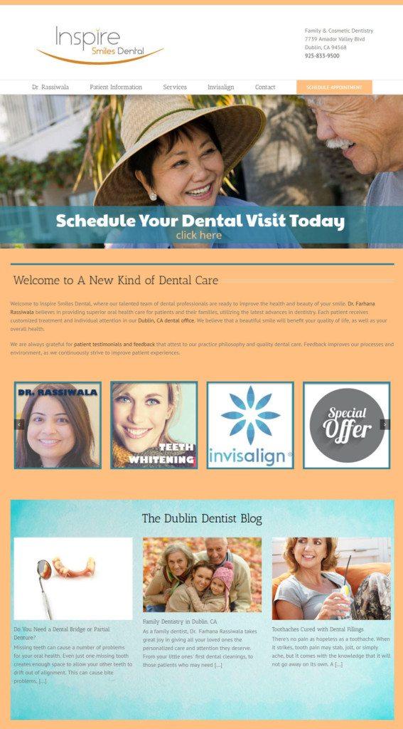 inspire smiles dental website screenshot home page