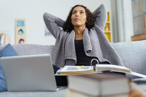 woman at home thinking about work