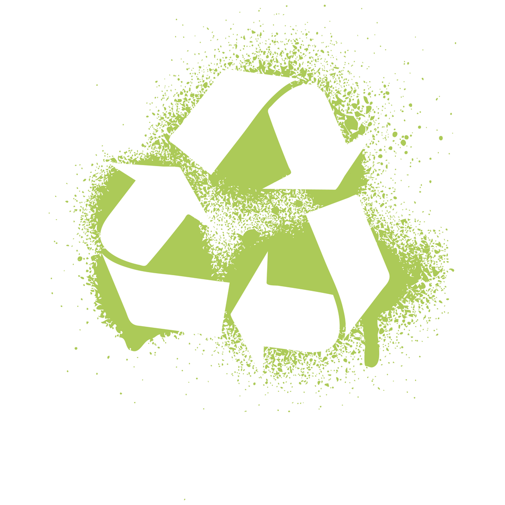 recycle icon in green spraypaint