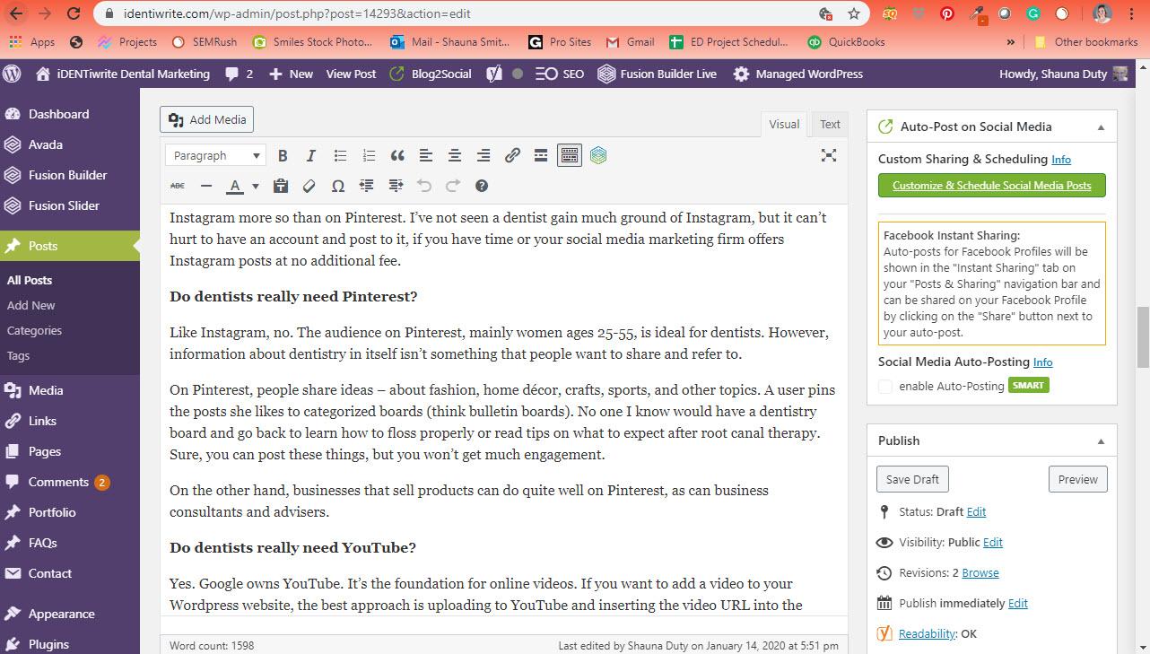 admin panel wordpress website
