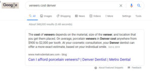 cost of veneers featured snippet